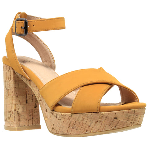 Womens Platform Sandals Ankle Strap Wrapped Cork Chunky Block Heel Shoes Yellow