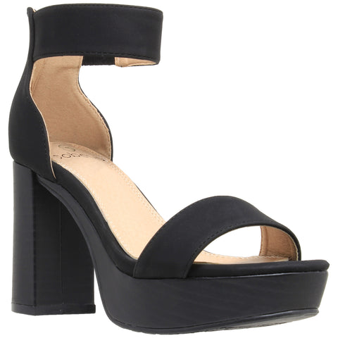 Womens Platform Sandals Open Toe Ankle Strap Chunky Block Heel Shoes Black