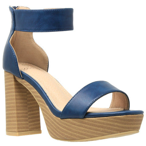 Womens Platform Sandals Open Toe Ankle Strap Chunky Block Heel Shoes Teal