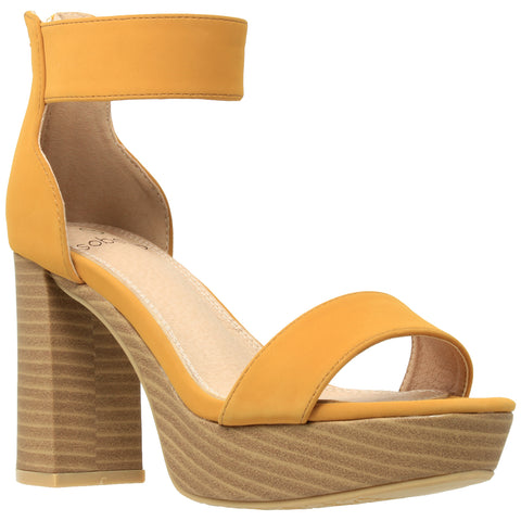 Womens Platform Sandals Open Toe Ankle Strap Chunky Block Heel Shoes Yellow
