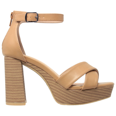 Womens Platform Sandals Adjustable Ankle Strap Retro Chunky Heel Shoes Tan
