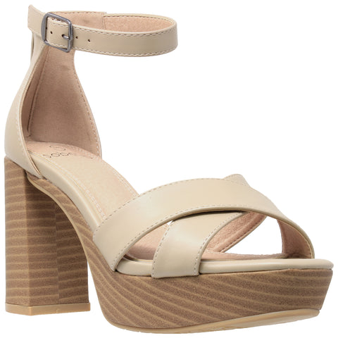 Womens Platform Sandals Adjustable Ankle Strap Retro Chunky Heel Shoes Taupe