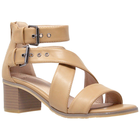 Womens Dress Sandals Strappy Buckle Accent Chunky Block Heel Shoes Tan