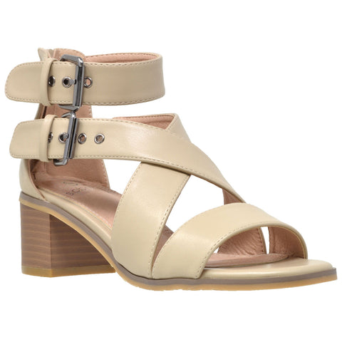 Womens Dress Sandals Strappy Buckle Accent Chunky Block Heel Shoes Taupe