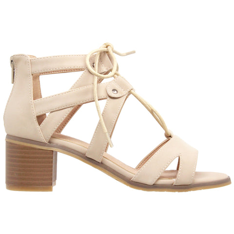 Womens Dress Sandals Lace Up Gladiator Block Heel Shoes Taupe
