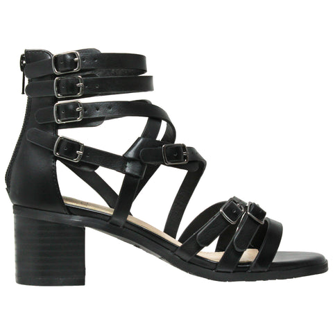 Womens Dress Sandals Strappy Buckle Accent Block Heel Gladiators Black