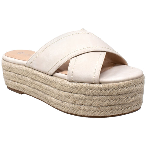 Womens Platform Sandals Wedge Flatform Slides Criss Cross Strap Espadrilles Beige