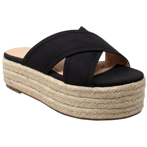 Womens Platform Sandals Wedge Flatform Slides Criss Cross Strap Espadrilles Black