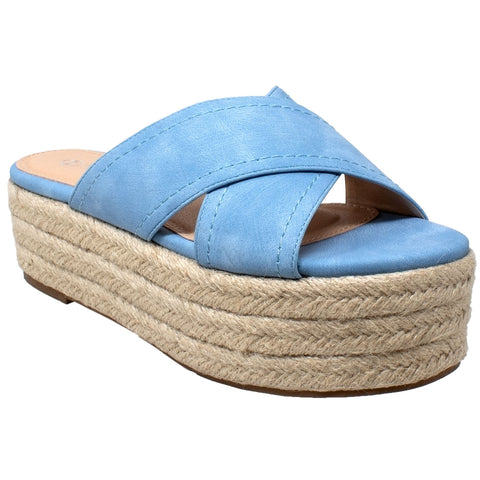 Womens Platform Sandals Wedge Flatform Slides Criss Cross Strap Espadrilles Blue