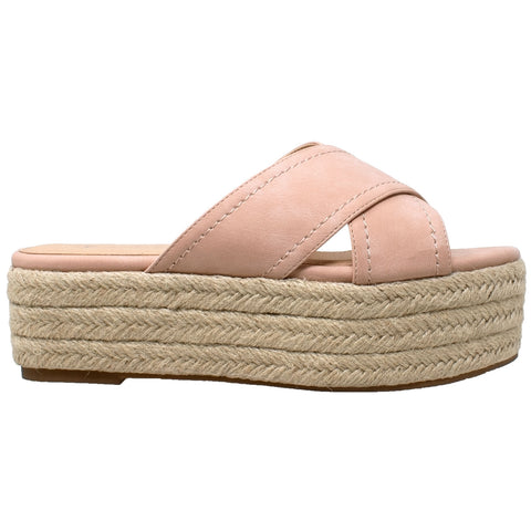Womens Platform Sandals Wedge Flatform Slides Criss Cross Strap Espadrilles Pink