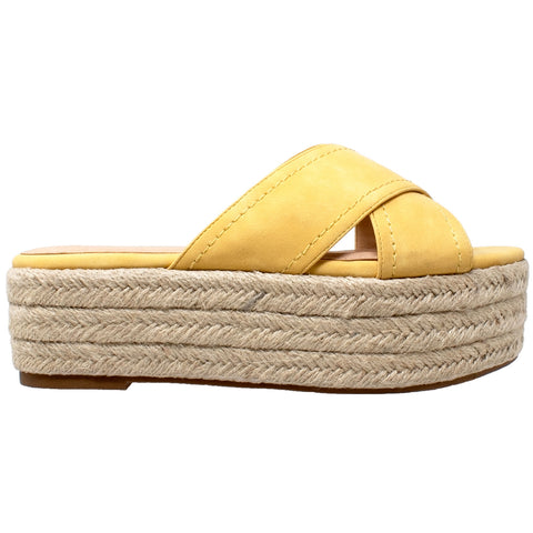 Womens Platform Sandals Wedge Flatform Slides Criss Cross Strap Espadrilles Yellow