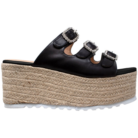 Womens Platform Sandals Wedge Flatform Slip On Rhinestone Accent Espadrilles Black