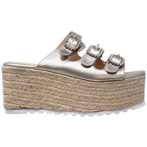 Womens Platform Sandals Wedge Flatform Slip On Rhinestone Accent Espadrilles Gold