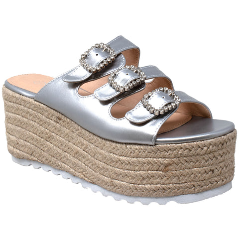 Womens Platform Sandals Wedge Flatform Slip On Rhinestone Accent Espadrilles Silver