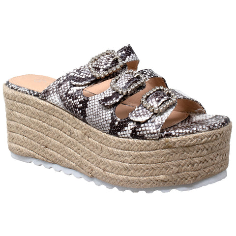 Womens Platform Sandals Wedge Flatform Slip On Rhinestone Accent Espadrilles Snake