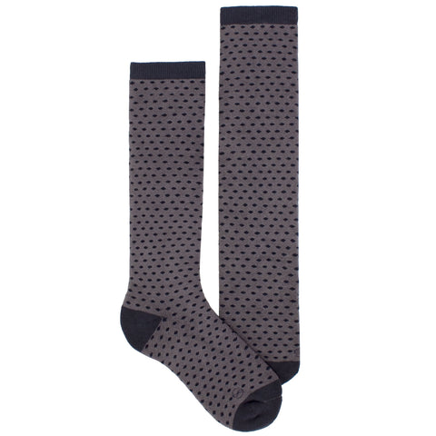 Women's Socks Knee High Performance Comfortable Athletic Sport Polka Dot Sock Gray