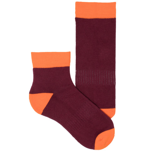 Women's Socks Quarter Ankle Performance Comfortable Colorblock Athletic Sock Burgundy