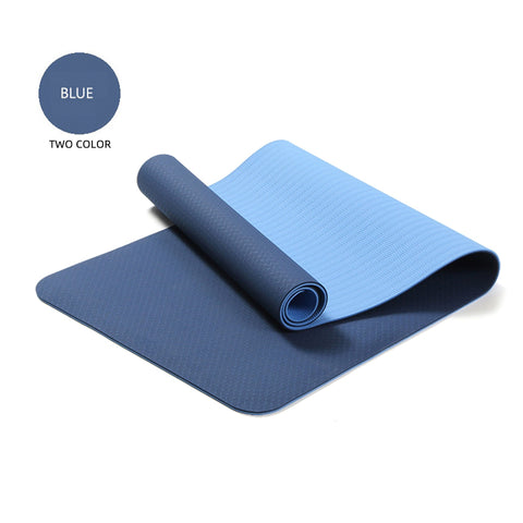Yoga Mats Double Layers Eco Friendly TPE 1/4 inch Pro Non-Slip Workout  Pilates Floor Exercises Blue