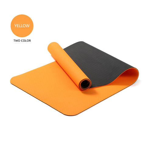 Yoga Mats Double Layers Eco Friendly TPE 1/4 inch Pro Non-Slip Workout  Pilates Floor Exercises Orange