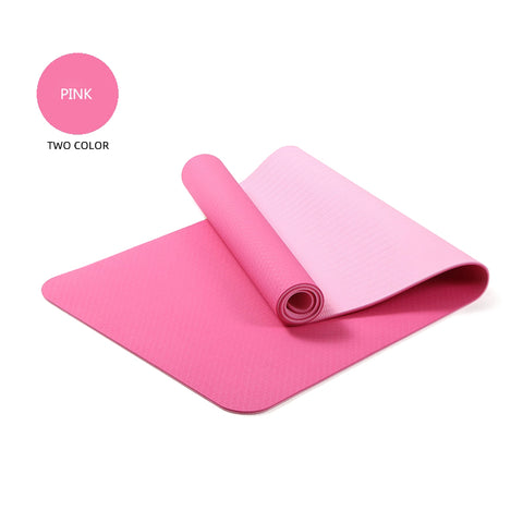 Yoga Mats Double Layers Eco Friendly TPE 1/4 inch Pro Non-Slip Workout  Pilates Floor Exercises Pink
