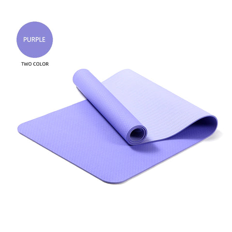 Yoga Mats Double Layers Eco Friendly TPE 1/4 inch Pro Non-Slip Workout  Pilates Floor Exercises Purple