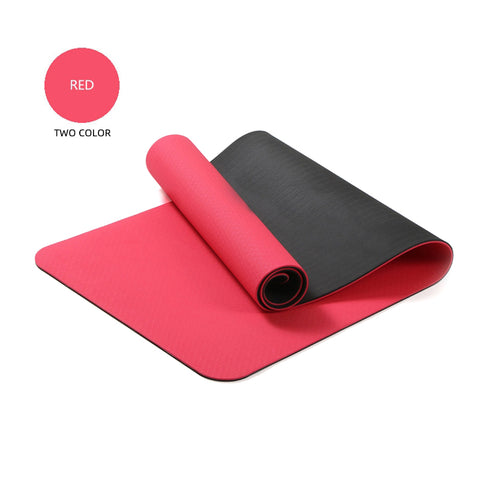 Yoga Mats Double Layers Eco Friendly TPE 1/4 inch Pro Non-Slip Workout  Pilates Floor Exercises Red