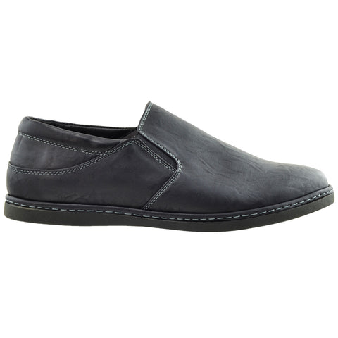 Mens Casual Shoes Slip On Loofers Double Goring Flat Heel black