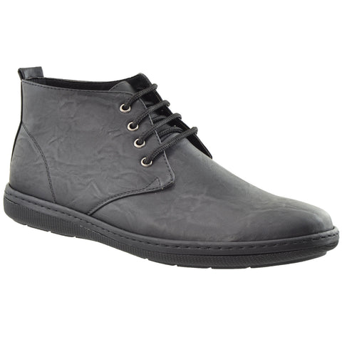 Mens Casual Shoes High Top Lace Up Oxford Almond Toe Flat Heel black