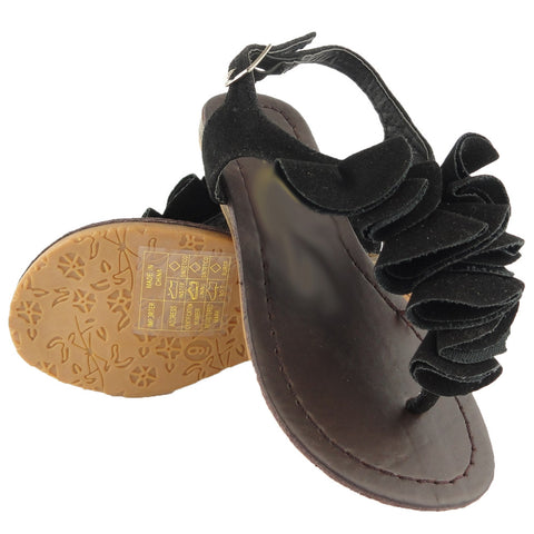 Girls T-Strap Flat Sandals w/ Ruffled Detail Black