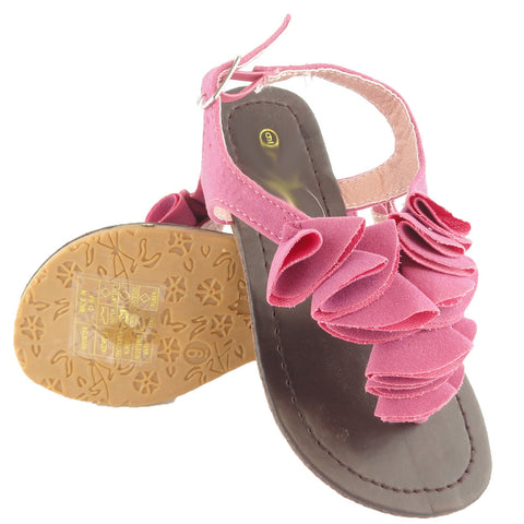 Kids Flat Sandals Ruffled Suede T Strap Adjustable Ankle Strap Pink