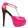 Womens Platform Sandals Patent Two Tone Peep Toe High Heel Shoes Pink