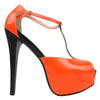 Womens Platform Sandals Patent Two Tone Peep Toe High Heel Shoes Orange