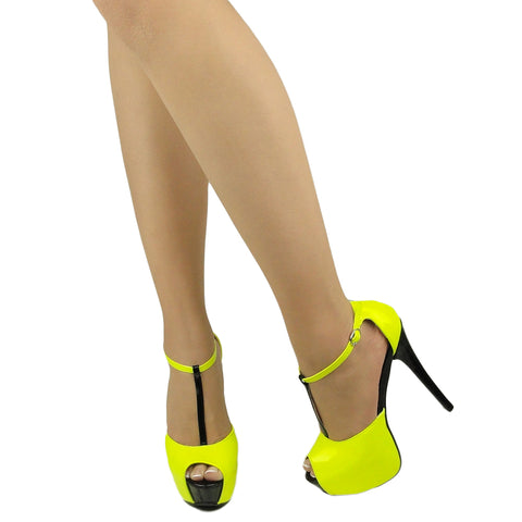 Womens Platform Sandals Patent Two Tone Peep Toe High Heel Shoes Yellow
