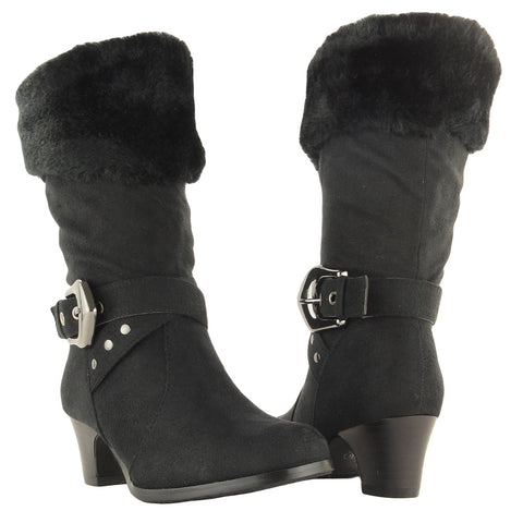 Womens Mid Calf Boots Suede Fur Cuff Ankle Wrap Buckle black