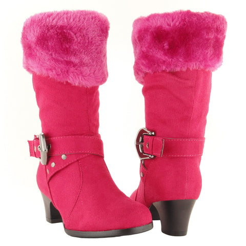 Kids Mid Calf Boots Suede Fur Cuff Ankle Wrap Buckle Pink