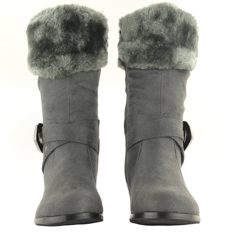 Kids Mid Calf Boots Suede Fur Cuff Ankle Wrap Buckle Gray