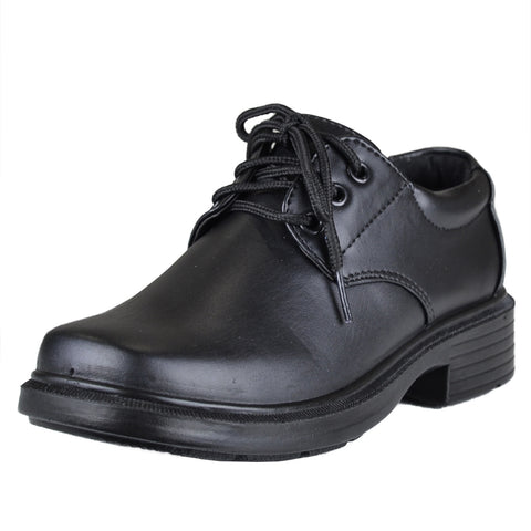 Boys Dress Shoes Lace Up Sleek Oxford Black
