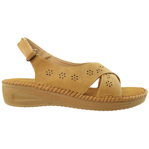 Womens Platform Sandals Crisscross Cutout Straps Lightweight Cushioned Velcro Closure Tan