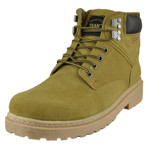 Mens Boots Lace Up Eyelet Suede Leather Hiking Shoes Tan