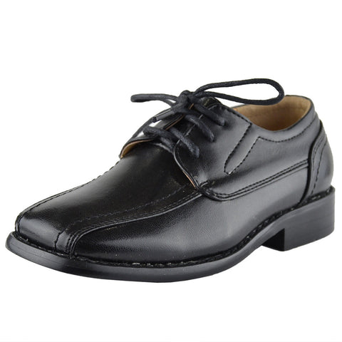 Boys Dress Shoes Tonal Stitch Detail Lace Up Oxford Black