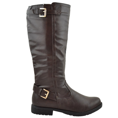 Womens Riding Mid Calf Boots w/ Buckle Accent Dark Brown