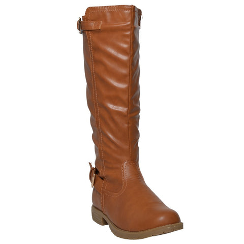 Womens Riding Mid Calf Boots w/ Buckle Accent Tan