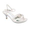 Kids Dress Sandals Low Heel Rhinestone Buckle Accent Pageant Shoes Silver