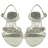 Kids Dress Sandals Low Heel Rhinestone Buckle Accent Pageant Shoes White