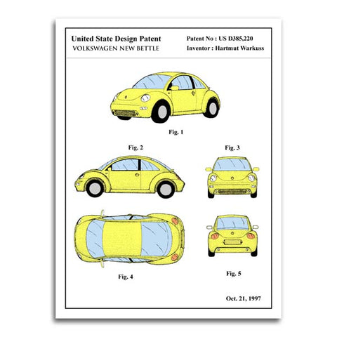 affiche de brevet volkswagen new bettle - patent poster volkswagen new bettle