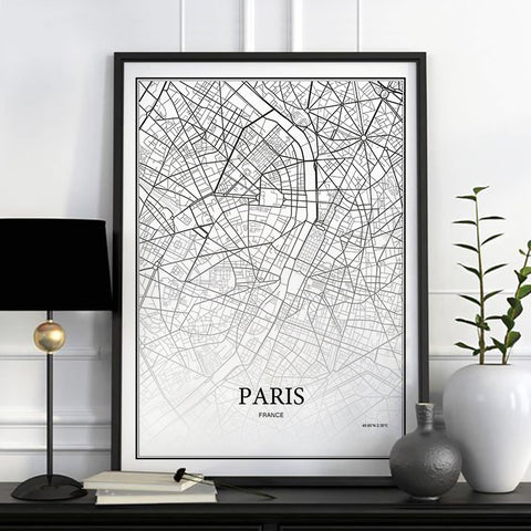 Cartographie de ville - Paris - Londres - New york | poster | STIKEO.COM