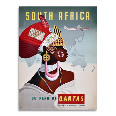 Affiche Vintage - Quantas Airline - South Africa