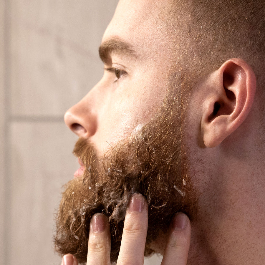 Foaming Sandalwood Beard Wash Being Worked Into Beard