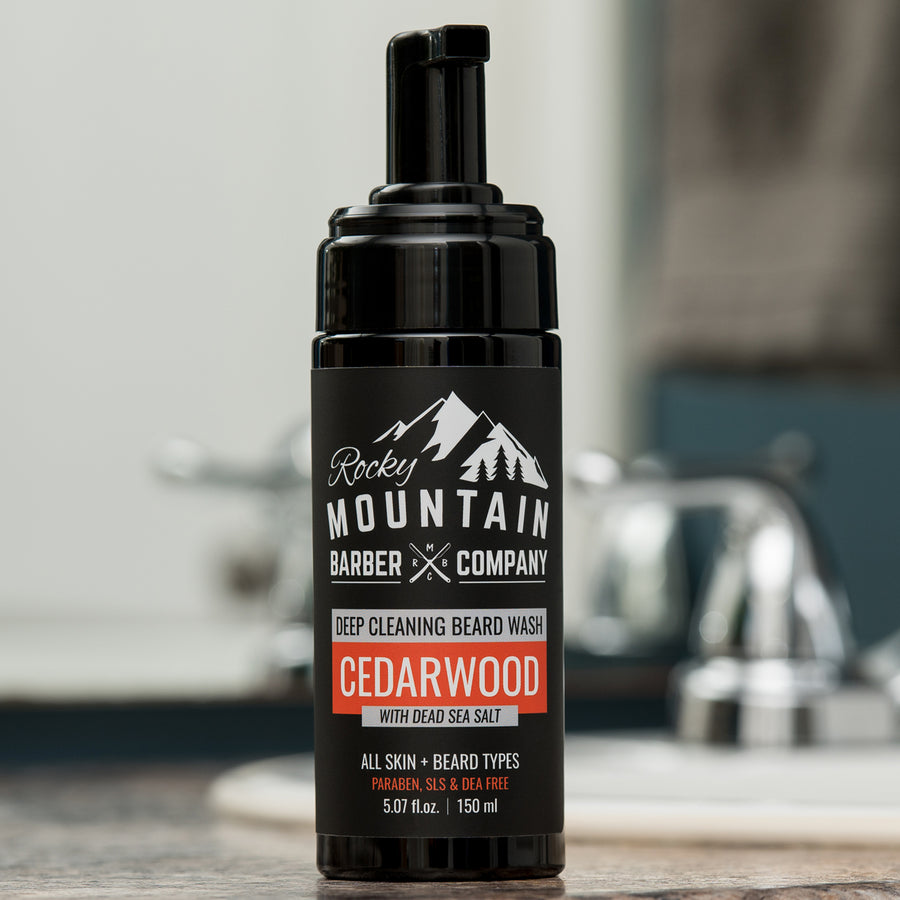Cedarwood Beard Wash on Bathroom Counter