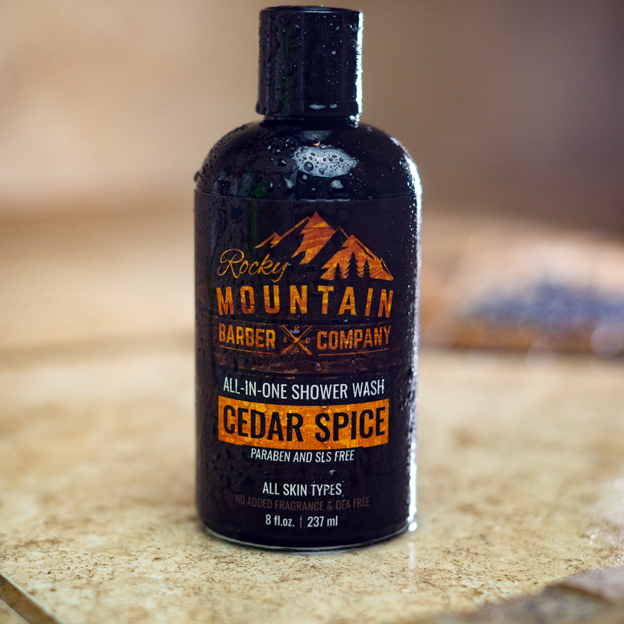 Rocky Mountain Barber Company Cedar Spice Shower Wash on Bathroom Shower Tile